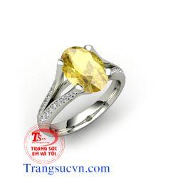 Nhẫn nam saphire màu vàng
