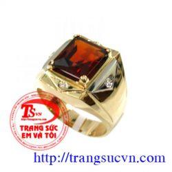Garnet Nhẫn Nam-vàng tây