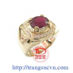 Nhẫn nam đá Garnet