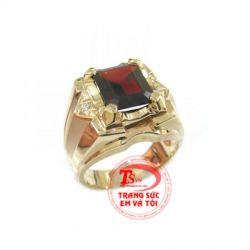 Nhẫn nam đá Garnet đẹp