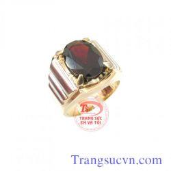 Nhẫn nam đá garnet-Vàng tây