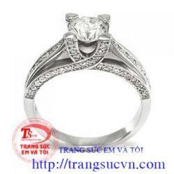 Nhẫn vàng trắng+ Kim cương