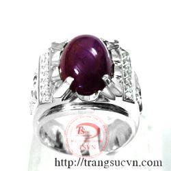 Nhẫn vàng+đá ruby thiên nhiên-TSVN