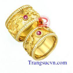 Nhẫn cưới Rồng Phượng ruby sao