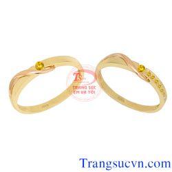 nhẫn cưới sapphire vàng