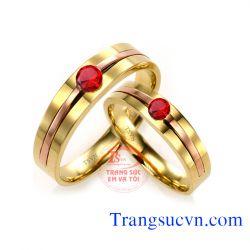 Nhẫn cưới đá ruby đỏ
