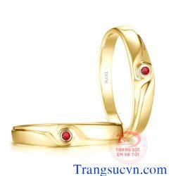 Nhẫn cưới đá ruby quý