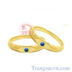 Nhẫn cưới đá xanh lam đẹp