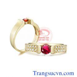 Nhẫn cưới ruby thiên nhiên