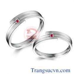 Nhẫn cưới vàng trắng ruby  đẹp