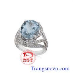 Nhẫn đá Aquamarine đẹp