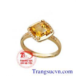Nhẫn nữ vàng tây Citrine  đẹp