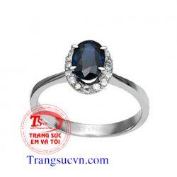 Nhẫn nữ đá quý sapphire xanh