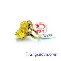 Nhẫn thạch anh vàng vàng  đẹp
