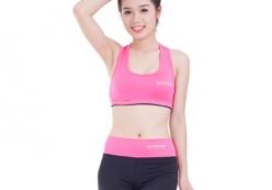 Thời trang gym áo crop quần đùi - hồng neon phối đen 02