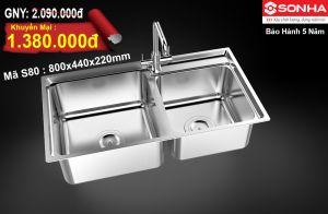Chậu rửa bát Inox 304 Sơn Hà S80