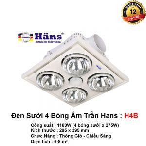 Đèn Sưởi Nhà Tắm Hans H4B Âm Trần
