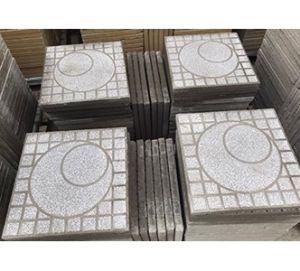 Gạch vỉa hè Terrazzo 40x40 xám tròn